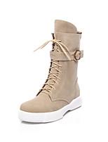 Недорогие -Жен. Армейские ботинки Замша Наступила зима На каждый день Ботинки Микропоры Круглый носок Сапоги до середины икры Пряжки Черный / Миндальный / Темно-зеленый