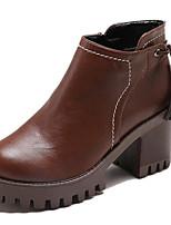 Недорогие -Жен. Fashion Boots Полиуретан Осень Ботинки Блочная пятка Круглый носок Ботинки Черный / Темно-коричневый