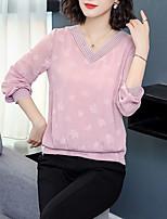 baratos -Mulheres Camiseta / Blusa Básico / Moda de Rua Bordado, Floral