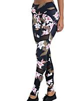 preiswerte -Damen Grundlegend Legging - Blumen Hohe Taillenlinie