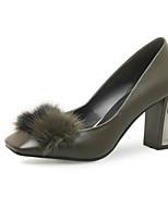 Недорогие -Жен. Балетки Наппа Leather Весна Обувь на каблуках Гетеротипическая пятка Черный / Зеленый