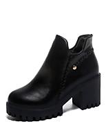 Недорогие -Жен. Fashion Boots Полиуретан Осень На каждый день Ботинки На толстом каблуке Круглый носок Ботинки Черный / Коричневый