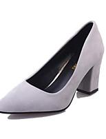 Недорогие -Жен. Комфортная обувь Замша Весна Обувь на каблуках На толстом каблуке Черный / Серый / Розовый