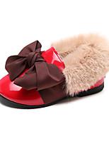 Недорогие -Девочки Обувь Полиуретан Наступила зима Удобная обувь На плокой подошве Для прогулок Бант для Дети Черный / Бежевый / Красный