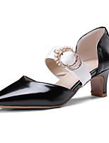 Недорогие -Жен. Балетки Полиуретан Весна Обувь на каблуках На толстом каблуке Белый / Черный / Коричневый