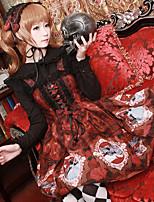 economico -Dolce Con lacci Chiffon Per femmina Gonna pullover Cosplay Rosso / Blu / Blu inchiostro Senza maniche Costumi Halloween