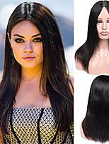 Недорогие -Remy Полностью ленточные Лента спереди Парик Бразильские волосы Прямой Парик Ассиметричная стрижка 130% 150% 180% Плотность волос Модный дизайн Женский Натуральный Черный Жен. Короткие