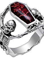 cheap -Men's Retro Statement Ring - Silver Plated Skull Statement, Punk 7 / 8 / 9 / 10 / 11 Red For Carnival Professional