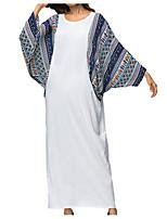 baratos -Mulheres Básico Reto Vestido Estampa Colorida Longo