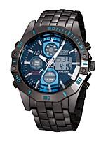 baratos -ASJ Homens Relógio Esportivo Japanês Quartzo 30 m Impermeável Calendário Cronógrafo Aço Inoxidável Banda Analógico-Digital Luxo Fashion Preta - Branco Azul / Noctilucente