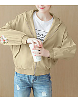 cheap -Women's Basic Jacket - Solid Colored, Patchwork