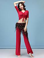 baratos -Dança do Ventre Roupa Mulheres Treino Modal Elástico / Com Fenda Meia Manga Caído Blusa / Calças