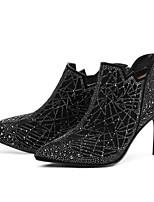 Недорогие -Жен. Fashion Boots Замша Осень Ботинки На шпильке Закрытый мыс Ботинки Черный
