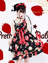 economico -Dolce Abito casual Lolita Dolce Colorata Chiffon Per femmina Vestiti Cosplay Bianco / Nero Senza maniche Senza maniche Midi Costumi Halloween