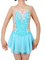 cheap -Figure Skating Dress Women's / Girls' Ice Skating Dress Sky Blue Spandex High Elasticity Professional Skating Wear Fashion Long Sleeve Ice Skating / Winter Sports / Figure Skating
