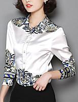 Недорогие -Жен. Пэчворк Рубашка Классический Однотонный / Геометрический принт Черное и белое