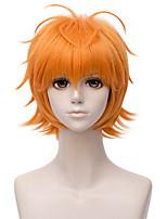 abordables -Accessoires pour Perruques Droit Blond Coupe Asymétrique Cheveux Synthétiques 12 pouce Animé / Cosplay Blond Perruque Homme Court Sans bonnet Orange