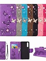 Недорогие -Кейс для Назначение Huawei P20 Pro / P20 lite Бумажник для карт / Стразы / Флип Чехол Бабочка / Стразы / Цветы Твердый Кожа PU для Huawei P20 Pro / Huawei P20 lite / P10 Plus / P10 Lite