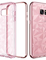 baratos -Capinha Para Samsung Galaxy S7 edge Antichoque / Galvanizado / Ultra-Fina Capa traseira Sólido Macia TPU / PC para S7 edge
