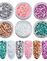 cheap -6 pcs Glitter Powder Sequins Mini Style / Color Gradient / Best Quality Romantic Series Rainbow nail art Manicure Pedicure Christmas / Halloween / Prom Artistic / Sweet