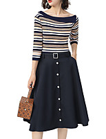 cheap -Women's Set - Solid Colored / Striped Skirt