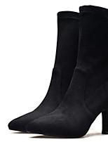 Недорогие -Жен. Fashion Boots Синтетика Зима Ботинки На шпильке Закрытый мыс Сапоги до середины икры Черный