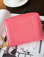 Недорогие -Жен. Мешки PU Бумажники Молнии Сплошной цвет Красный / Розовый / Пурпурный