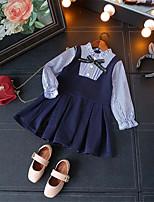 Недорогие -Дети Девочки Полоски Длинный рукав Платье