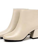 Недорогие -Жен. Fashion Boots Наппа Leather Лето Ботинки На толстом каблуке Закрытый мыс Ботинки Черный / Бежевый