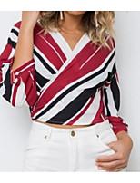 Недорогие -Жен. Блуза V-образный вырез Полоски