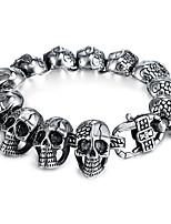 abordables -Homme Le style rétro / Stylé Bracelets Vintage - Acier au titane Crâne Elégant, Rétro, Punk Bracelet Argent Pour Cadeau / Plein Air