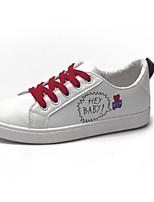 Недорогие -Жен. Комфортная обувь Полиуретан Лето Кеды На плоской подошве Закрытый мыс Белый / Черный