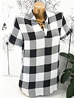 Недорогие -Жен. Рубашка V-образный вырез Тонкие Шахматка