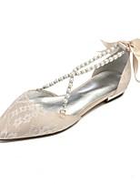 baratos -Mulheres Sapatos Confortáveis Renda Primavera Verão Sapatos De Casamento Sem Salto Dedo Apontado Pérolas Sintéticas Prateado / Champanhe / Ivory / Festas & Noite