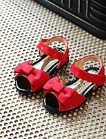 Недорогие -Девочки Обувь Полиуретан Лето Удобная обувь Сандалии Бант для Дети / Дети (1-4 лет) Черный / Красный
