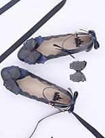baratos -Estilo Romântico Elegante Sem Salto Côr Sólida Laço <1 cm CM Tinta Azul / Vermelho Para PU Trajes da Noite das Bruxas