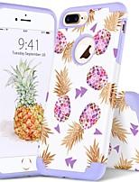 Недорогие -Кейс для Назначение Apple iPhone 8 Plus / iPhone 7 Plus Защита от удара / IMD / С узором Кейс на заднюю панель Растения / Полосы / волосы / Фрукты Мягкий ПК / силикагель для iPhone 8 Pluss / iPhone 7