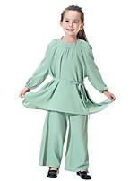 Недорогие -Дети Девочки Богемный Однотонный Длинный рукав Длинный Набор одежды