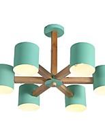 baratos -QIHengZhaoMing 6-luz Lustres Luz Ambiente Acabamentos Pintados Madeira / Bambu 110-120V / 220-240V Branco Quente Fonte de luz LED incluída
