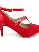 Недорогие -Жен. Комфортная обувь Полиуретан Весна Обувь на каблуках На шпильке Черный / Красный / Миндальный / Повседневные