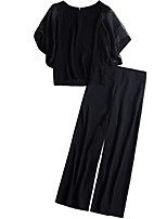 Недорогие -Жен. Классический Блуза Брюки Однотонный