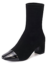 Недорогие -Жен. Fashion Boots Полиуретан Осень Ботинки На толстом каблуке Заостренный носок Сапоги до середины икры Черный / Коричневый