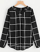Недорогие -Жен. На выход Блуза V-образный вырез Контрастных цветов