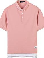 baratos -Homens Polo Sólido Algodão Colarinho de Camisa / Manga Curta