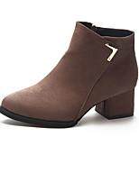 Недорогие -Жен. Fashion Boots Полиуретан Осень Минимализм Ботинки На толстом каблуке Круглый носок Ботинки Черный / Коричневый