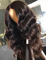 Недорогие -Remy Лента спереди Парик Бразильские волосы Естественные кудри Парик Средняя часть 130% Природные волосы / С отбеленными узлами Жен. Длинные Парики из натуральных волос на кружевной основе
