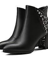 Недорогие -Жен. Fashion Boots Синтетика Зима Ботинки На толстом каблуке Закрытый мыс Ботинки Черный
