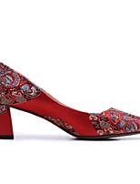 baratos -Mulheres Sapatos Confortáveis Cetim Verão Saltos Salto Robusto Vermelho / Casamento