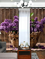 Недорогие -3D-шторы Спальня Современный стиль Полиэстер Активный краситель