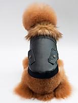 baratos -Cachorros / Gatos Casacos Roupas para Cães Sólido Preto / Vermelho PU Leather Ocasiões Especiais Para animais de estimação Unisexo Casual / Aquecimento